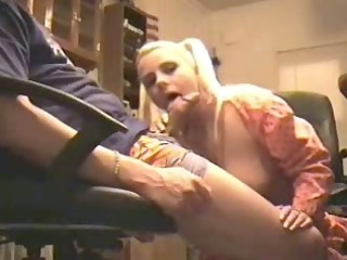 pigtailed golden-haired wife sucks at home