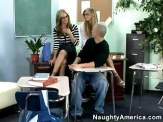 two super-hot milfs give college lad a real