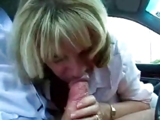 aged secretary cheats with her boss at the car