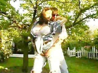 milf with big tits slams dong in backyard