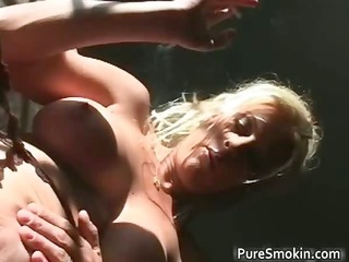 naked blond playgirl smokes cigar with her part1